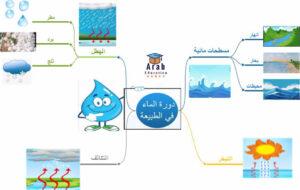 العمليات الأساسية لدورة الماء في الطبيعة باستخدام الخريطة ذهنية